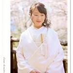 白無垢を着て桜で前撮りロケーション